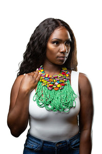 Ankara Button and Beaded Necklace- Green