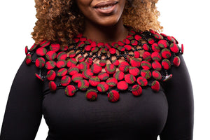 Ankara Large Beaded Collar- RED