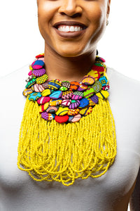 Ankara Button and Beads- Yellow
