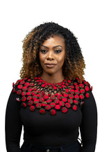 Load image into Gallery viewer, Ankara Large Beaded Collar- RED