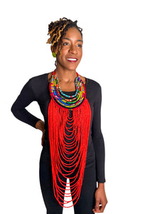 Bold Beaded Necklace- RED