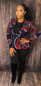 Ankara Print Blazer - Blue and Red