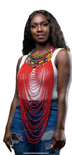 Load image into Gallery viewer, Bold Beaded Necklace- RED