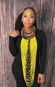 African Bold Beaded Necklace- YELLOW