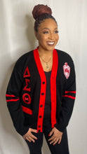 Load image into Gallery viewer, Greek Letter Cardigan- Black and Red