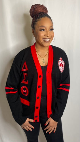 Greek Letter Cardigan- Black and Red