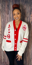 Load image into Gallery viewer, Greek Letter Cardigan- Cream and Red