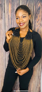 Golden Stranded Buttoned Necklace