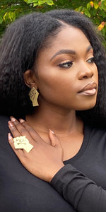 "•BLACK POWER"" Brass Earrings"