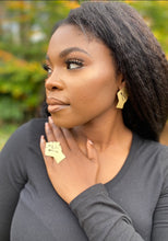"Load image into Gallery viewer, •BLACK POWER"" Brass Earrings"
