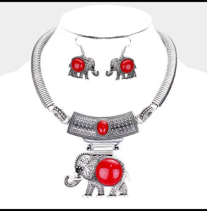 Trunks Up Necklace Set (Red)
