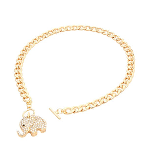 Crystal GOLD elephant necklace