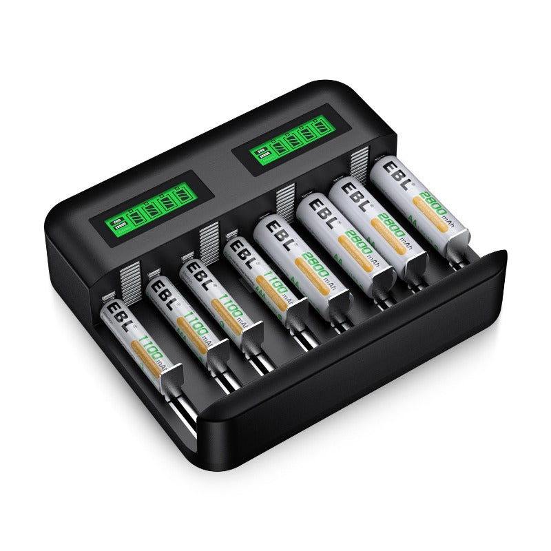 EBL 8 Slot LCD Battery Charger and 4Pcs AA Batteries & 4Pcs AAA Batteries - EBLOfficial