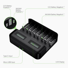 Load image into Gallery viewer, EBL 8 Slot LCD Battery Charger and 4Pcs AA Batteries & 4Pcs AAA Batteries - EBLOfficial