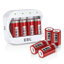 Load image into Gallery viewer, EBL Li16340 CLi-ion Battery (4 Pack) and Battery Charger - EBLOfficial