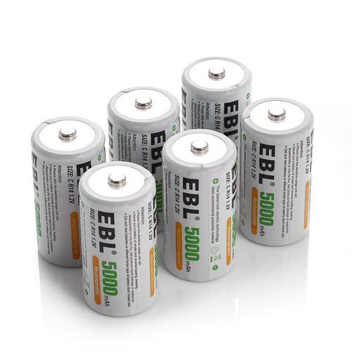 EBL Rechargeable Ni-MH C Battery Cells 5000mAh - EBLOfficial