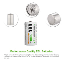 Load image into Gallery viewer, EBL Rechargeable Ni-MH C Battery Cells 5000mAh - EBLOfficial