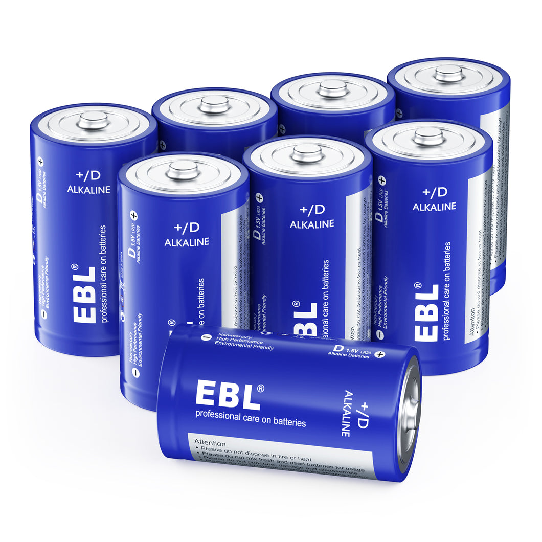 EBL Alkaline D Batteries, 4/8 Packs - EBLOfficial