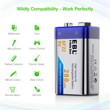 Load image into Gallery viewer, EBL 6F22 9V 280mah Rechargeable Battery - EBLOfficial