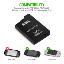 Load image into Gallery viewer, EBL Rechargeable Batteries for Sony PSP 2000/3000 PSP-S110 Console - EBLOfficial