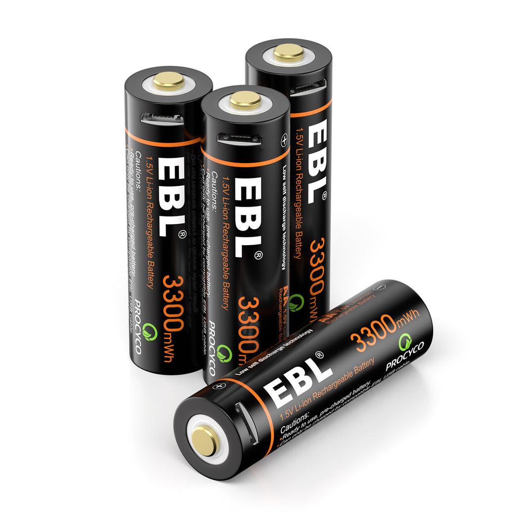 EBL 1.5V Li-ion Rechargeable AA Batteries 3300mwh Lithium Battery - EBLOfficial