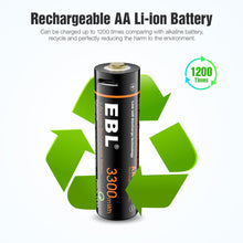 Load image into Gallery viewer, EBL 1.5V Li-ion Rechargeable AA Batteries 3300mwh Lithium Battery - EBLOfficial