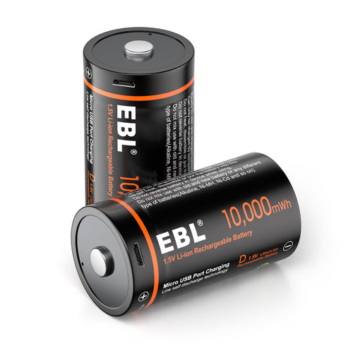 EBL USB Rechargeable D Batteries 10000mWh 1.5V - EBLOfficial