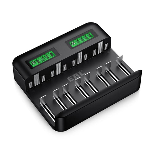 EBL LCD Universal  8 Bay Battery Charger with Type C Input - EBLOfficial