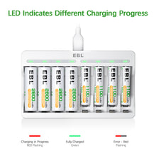Load image into Gallery viewer, EBL 8 Bay AA AAA Battery Charger Smart Battery Charger - EBLOfficial