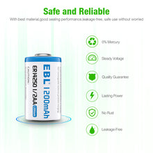 Load image into Gallery viewer, EBL 2/4PCS ER14250 1200 mAh 3.6V Lithium Non-Rechargeable Battery 1/2 AA Size - EBLOfficial