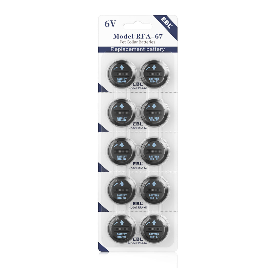 EBL 10 Pack RFA-67 6 Volt Pet Collar Replacement Batteries - EBLOfficial