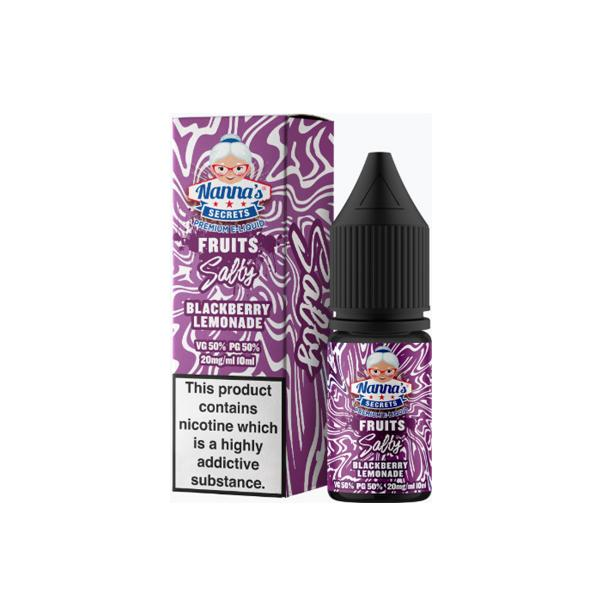 20mg Nanna's Secret Fruits 10ml Flavoured Nic Salt (50VG/50PG) - Unholy Vape