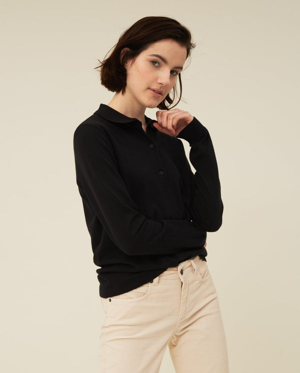 Lexington Chiara Cotton/Silk Blend Knitted Polo Black