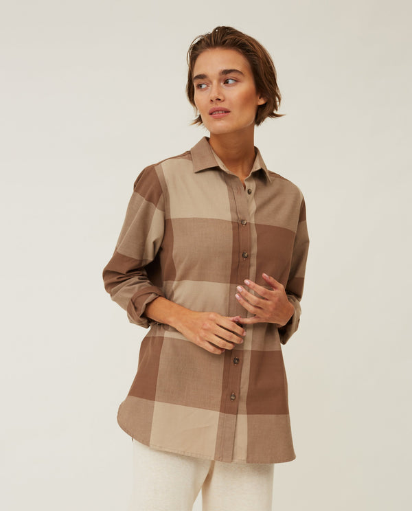 Lexington Isa Check Org Cotton Flannel Shirt Brown