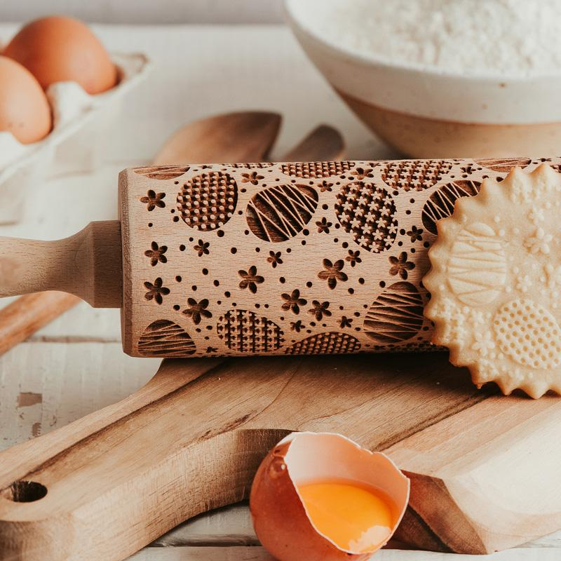 Pastrymade EASTER EGGS ROLLING PIN Pastry Tool and Baking Utensil for Homemade Cookies