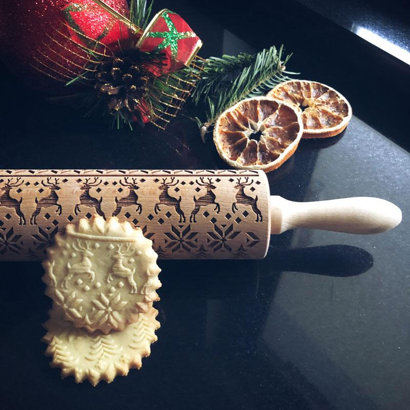 Pastrymade REINDEERS ROLLING PIN Pastry Tool and Baking Utensil for Homemade Cookies