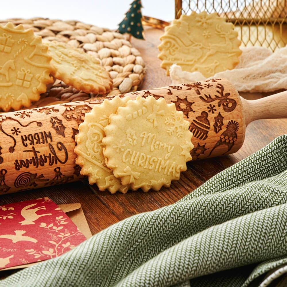Pastrymade SANTA CLAUS ROLLING PIN Pastry Tool and Baking Utensil for Homemade Cookies