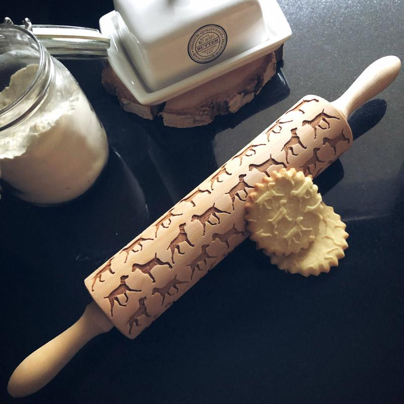 Pastrymade WEIMARANER ROLLING PIN Pastry Tool and Baking Utensil for Homemade Cookies