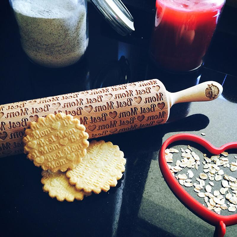 Pastrymade BEST MOM ROLLING PIN Pastry Tool and Baking Utensil for Homemade Cookies