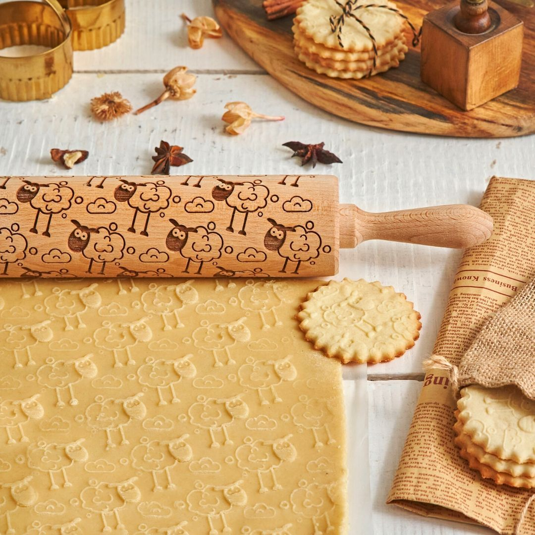 Pastrymade OH SHEEP! ROLLING PIN Pastry Tool and Baking Utensil for Homemade Cookies