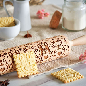 Pastrymade FRENCHIE BULLDOG ROLLING PIN Pastry Tool and Baking Utensil for Homemade Cookies