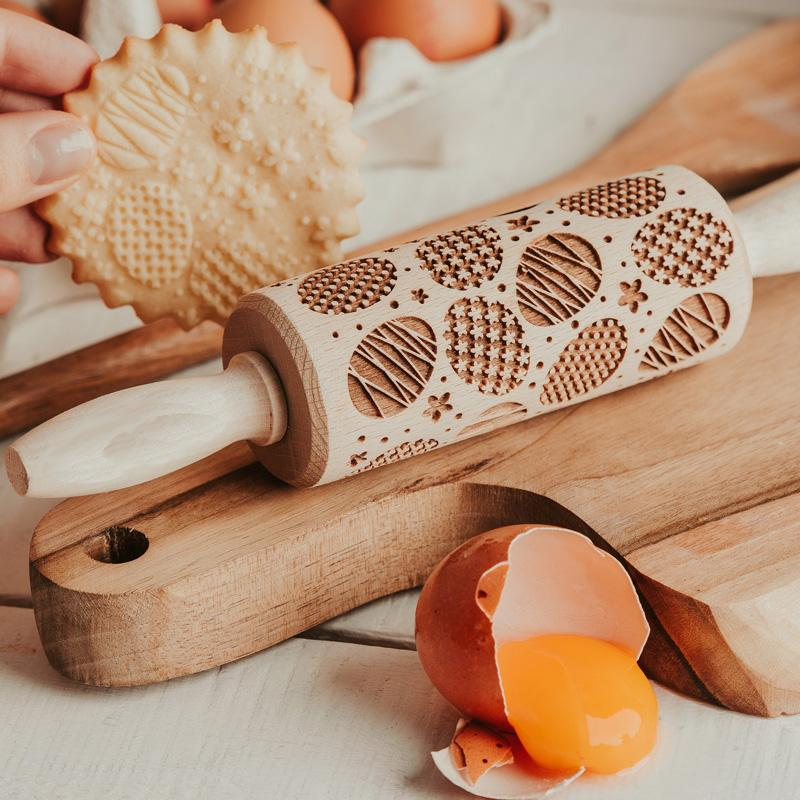Pastrymade EASTER EGGS KIDS ROLLING PIN Pastry Tool and Baking Utensil for Homemade Cookies