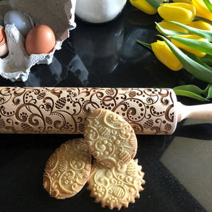 Pastrymade FLORAL EASTER ROLLING PIN Pastry Tool and Baking Utensil for Homemade Cookies