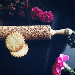 Pastrymade FOLK FLOWERS ROLLING PIN Pastry Tool and Baking Utensil for Homemade Cookies