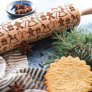 Pastrymade GINGERBREAD MEN ROLLING PIN Pastry Tool and Baking Utensil for Homemade Cookies