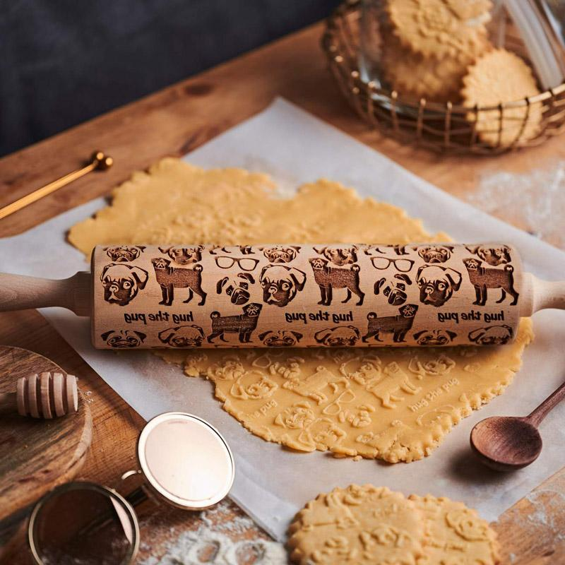Pastrymade HUG THE PUG ROLLING PIN Pastry Tool and Baking Utensil for Homemade Cookies