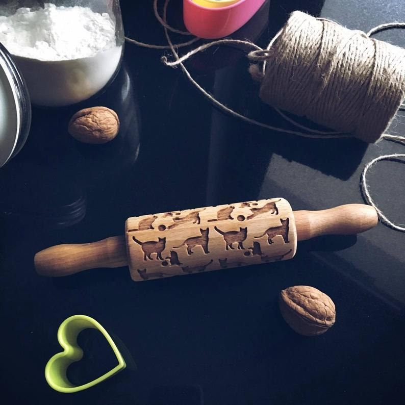 Pastrymade CATS KIDS ROLLING PIN Pastry Tool and Baking Utensil for Homemade Cookies