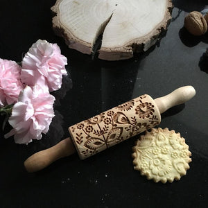 Pastrymade FOLK FLOWERS KIDS ROLLING PIN Pastry Tool and Baking Utensil for Homemade Cookies
