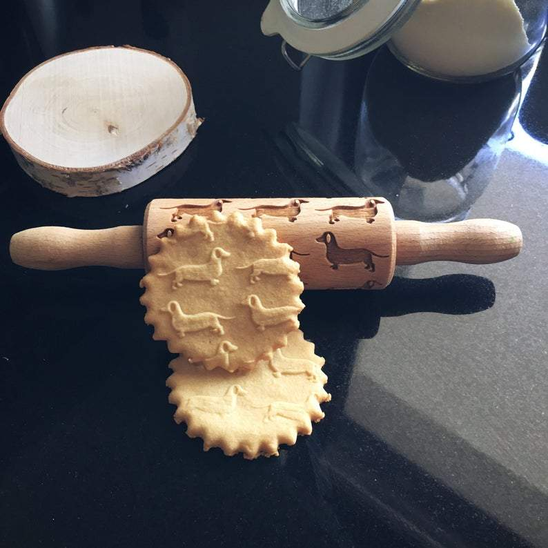 Pastrymade DACHSHUND KIDS ROLLING PIN Pastry Tool and Baking Utensil for Homemade Cookies
