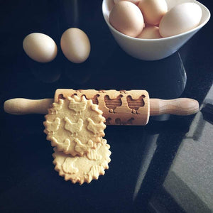 Pastrymade CHICKEN KIDS ROLLING PIN Pastry Tool and Baking Utensil for Homemade Cookies
